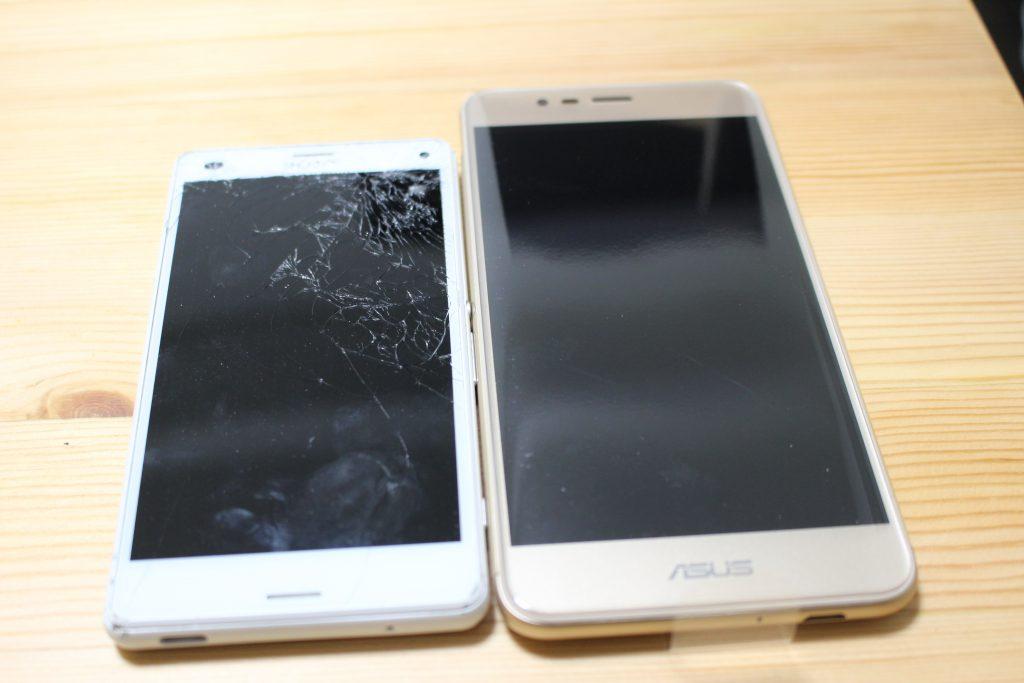 破損したXPERIAとZenFone3Maxのサイズ比較