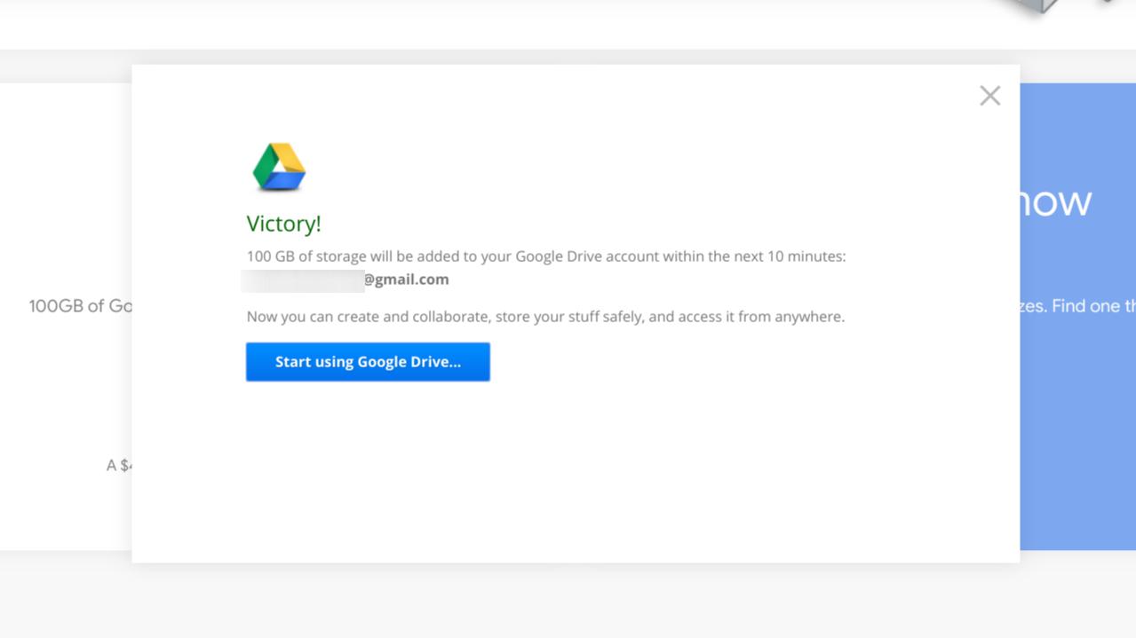 google driveの特典の受け取り方