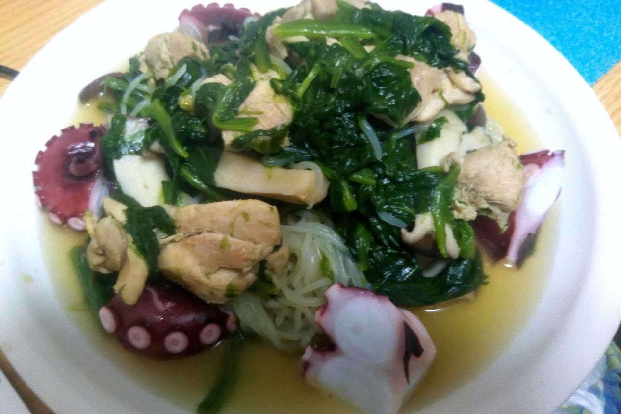 鶏胸肉とタコとキノコの減量飯