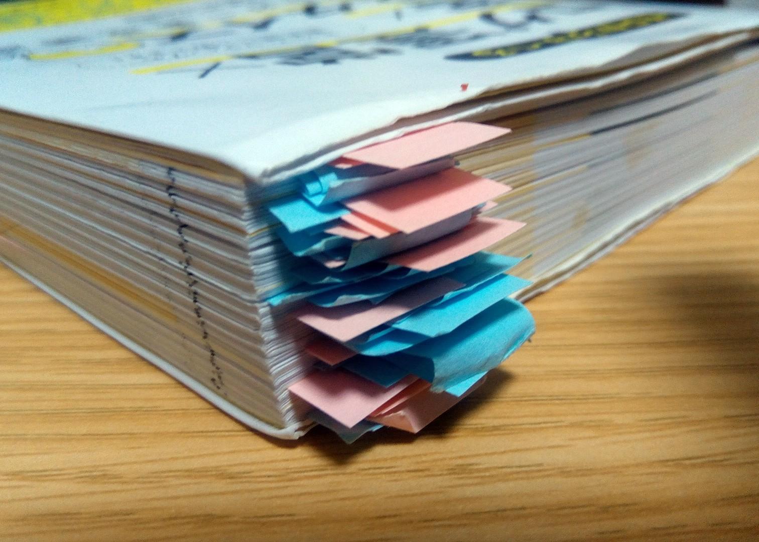 こんなに大量の付箋を本に貼ったのははじめて