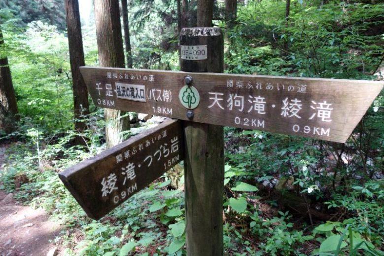 天狗滝と綾滝の分岐点